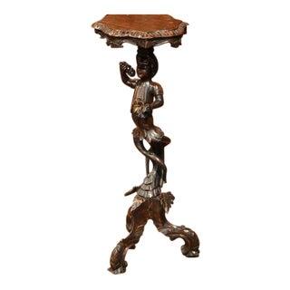 19th Century Italian Carved Blackamoor Walnut Table with Gilt Accents