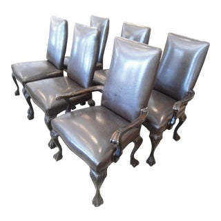 Brown Leather Dining Chairs - Set of 6
