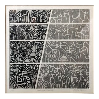 """Neolithic Graffiti"" Signed Numbered Lithograph by Shirley Levine"