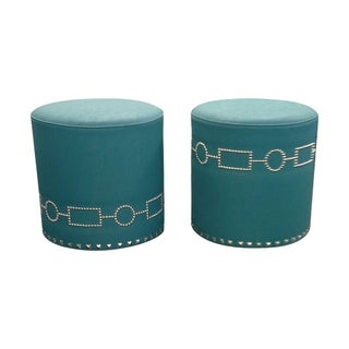 Studded Faux Leather Ottomans - A Pair
