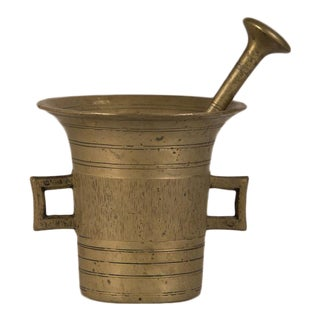 Solid Cast Brass Mortar and Pestle, France c.1920