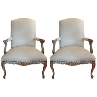 French Louis XV Style Painted & Gilt Armchairs - A Pair