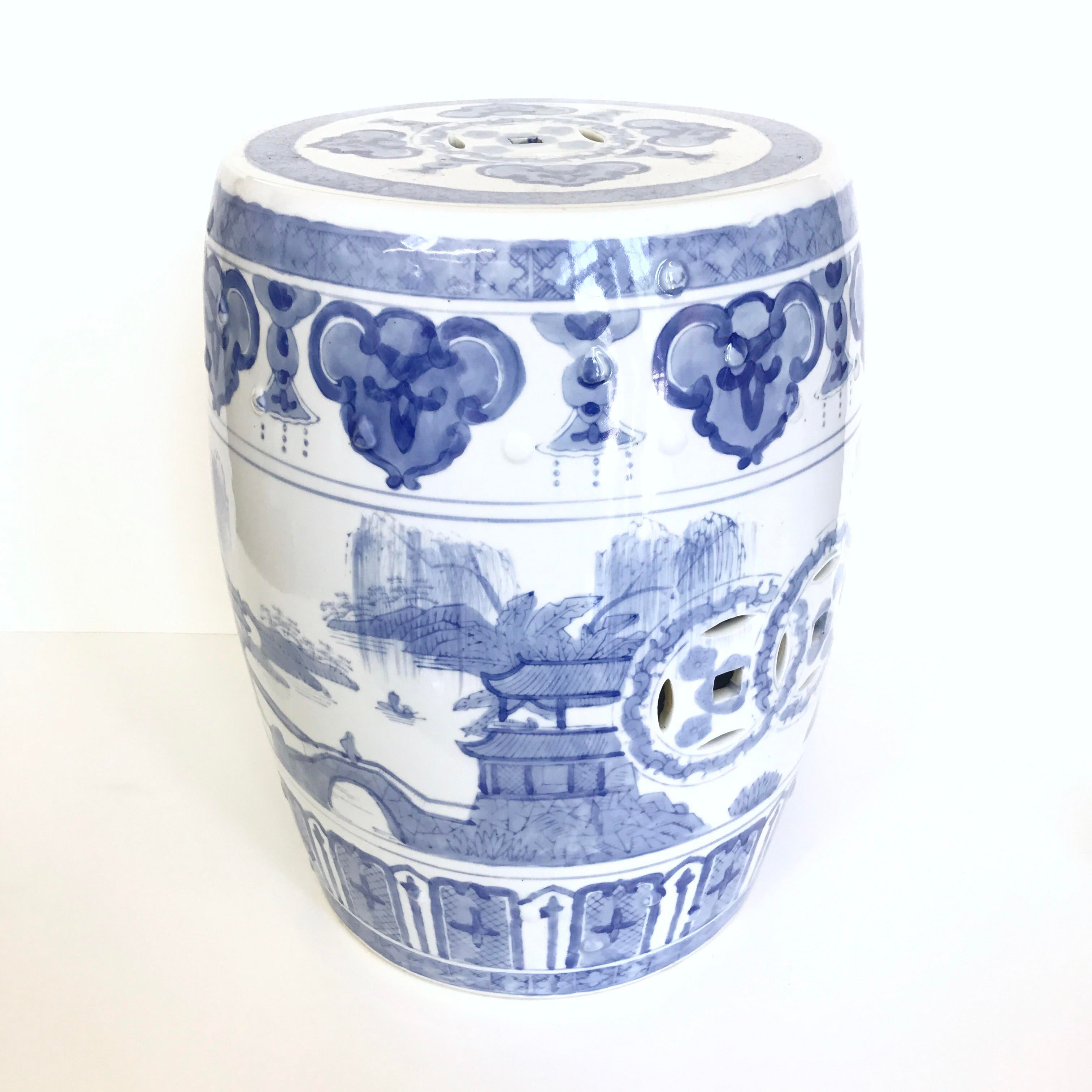 Chinoiserie Blue Amp White Garden Stool Chairish