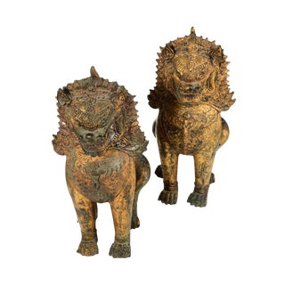 Antique Cambodian Gilt Bronzed Foo Dogs - A Pair