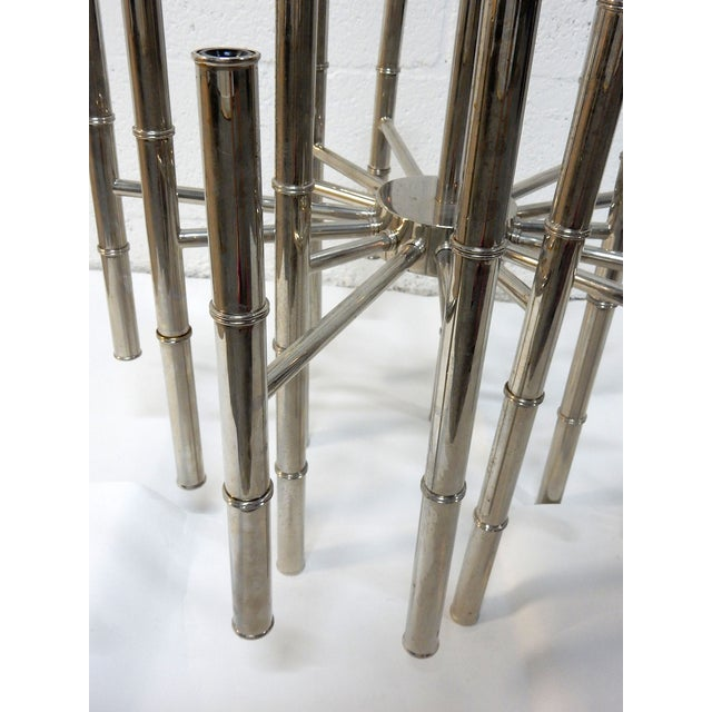 Faux Bamboo Chrome Chandelier - Image 7 of 9