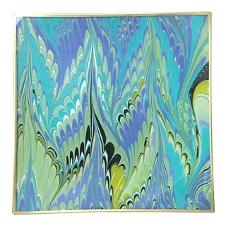 Jill Seale Blue Flame Glass Marbled Tray
