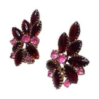 Red & Pink Glass Earrings
