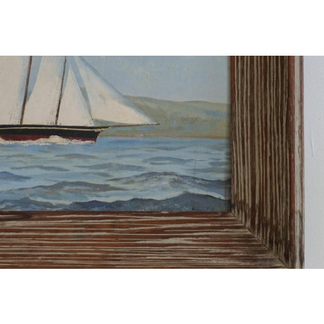 Vintage Sailboat Painting In Weathered Frame - Image 3 of 6