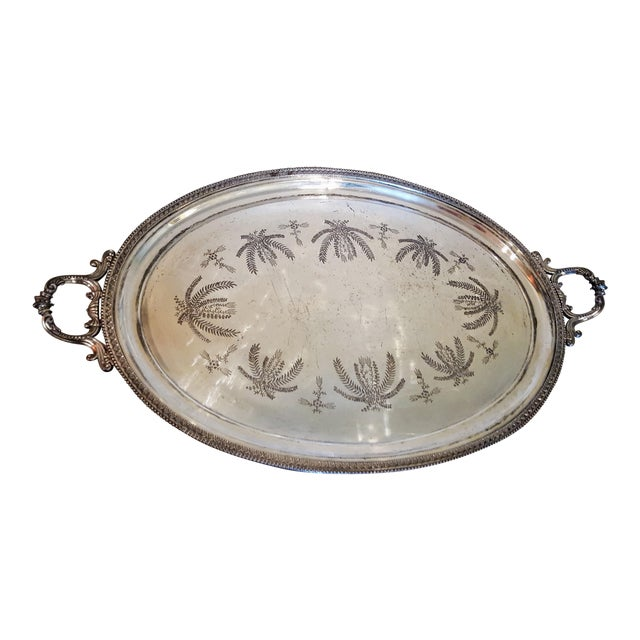 1867 Silver Plated Serving Tray With Engraving - Image 1 of 8