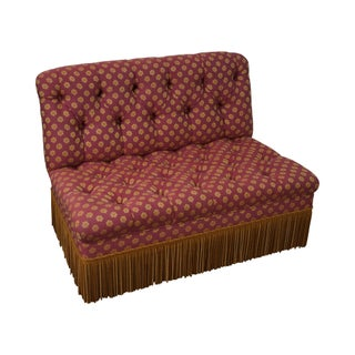 Vintage Tufted Settee with Fringe