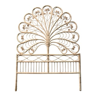 Vintage Rattan Peacock Twin Headboard