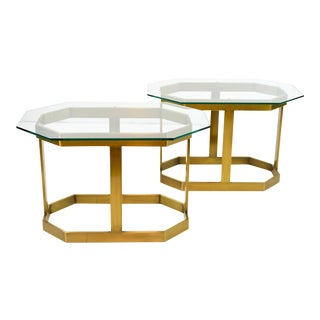Milo Baughman Style Side Tables - Pair
