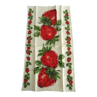 Vintage Linen Strawberry Print Tea Towel