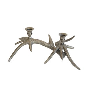 Silver-Tone Antler Candle Holder