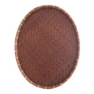 Oval Rattan & Bamboo Basket Tray