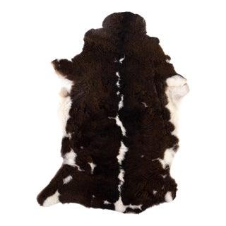 Brown & White Handmade Sheepskin Rug- 2′ × 3′2″