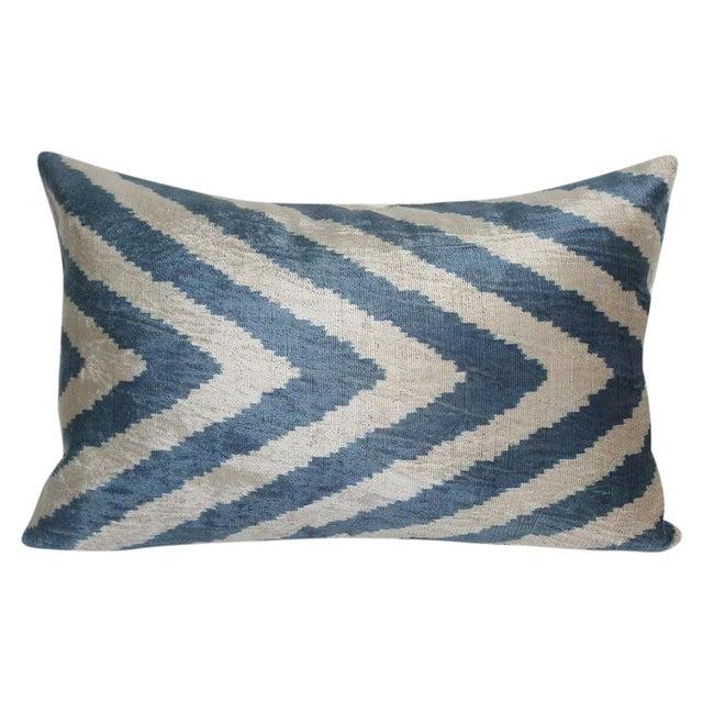 Mineral Blue & Beige Silk Velvet Accent Pillow Chairish