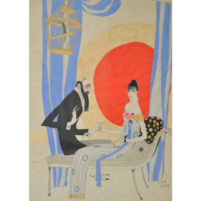 Ralph Barton (1891–1931) Art Deco Painting 1920's - Image 4 of 8