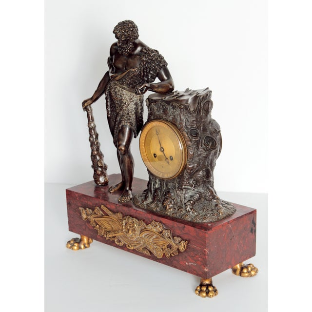 """French Empire """"Farnese Hercules"""" Mantel Clock attributed to Claude Galle - Image 6 of 11"""