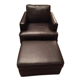 Hancock and Moore Leather Chair and Ottoman