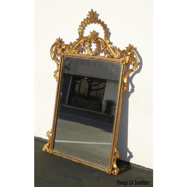 Large Vintage French Italian Rococo Ornately Carved Gold Gilt Wall Mantle Mirror Made in Italy - Image 4 of 11