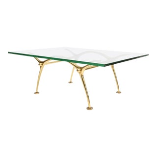 Brass Based Glass Topped Cocktail Table by Kouloufi