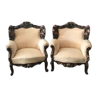Venetian Cream Suede Bergere Chairs - A Pair