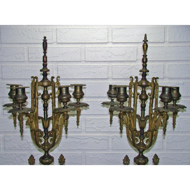 Huge Antique Victorian Neoclassical Bronze & Marble Candelabras - a Pair - Image 3 of 11