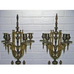 Image of Huge Antique Victorian Neoclassical Bronze & Marble Candelabras - a Pair
