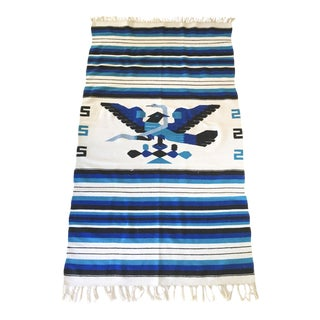 Blue and White Aztec Throw