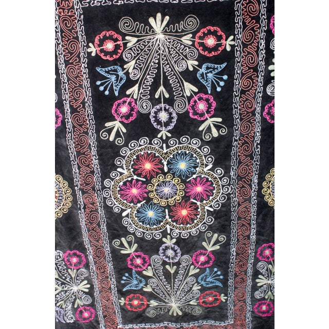 Embroidered Vintage Velvet Suzani - Image 7 of 7