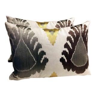 Schumacher Silver Ikat Lumbar Pillows - A Pair