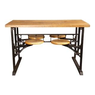 Industrial Vintage Swing Out Seat Wood, Cast Iron, Steel Breakfast Table