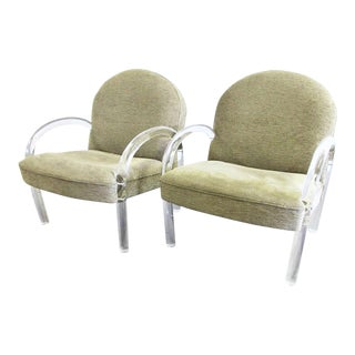 1970 Pace Collection Lucite Lounge Chairs -A Pair