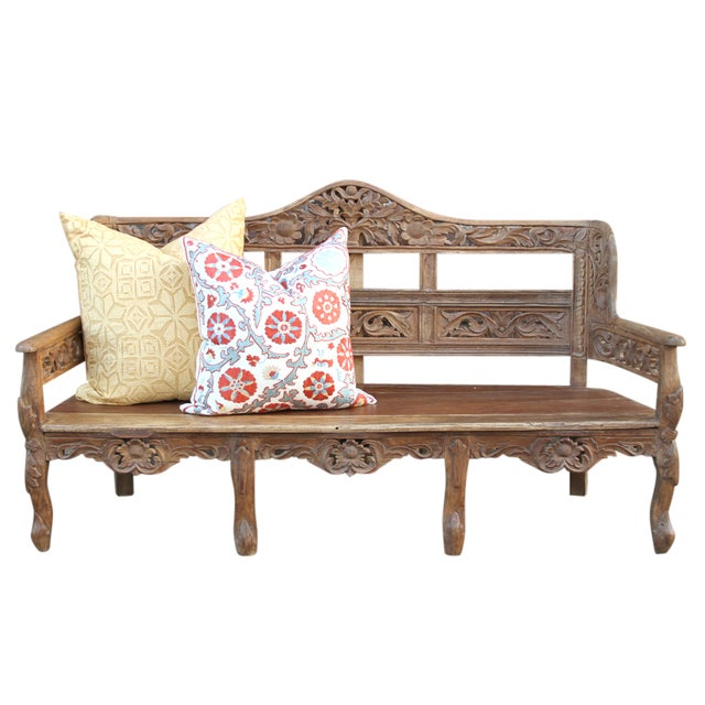 Carved Anglo India Settee - Image 2 of 5