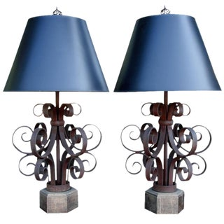 Pair of Scrolled Iron Ribbon Style Table Lamps