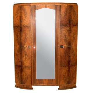 Vintage French Art Deco Mirrored Armoire