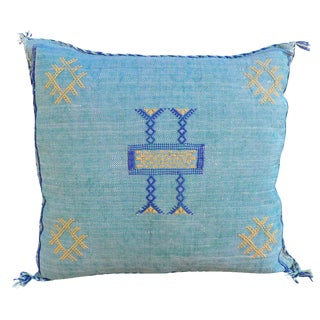 Moroccan Sabra Cactus Blue Silk Pillow