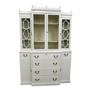 Chinoiserie White Lacquered Breakfront Secretary