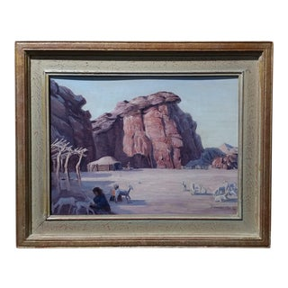 Conrad Buff Native American Camp Original Oil Painting