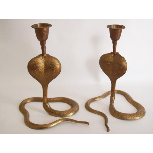 Image of Vintage Brass Cobra Snake Candlesticks - A Pair