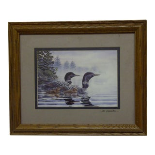 "Original Framed Double-Matted Print ""Mallard Family"" by M. Monroe"