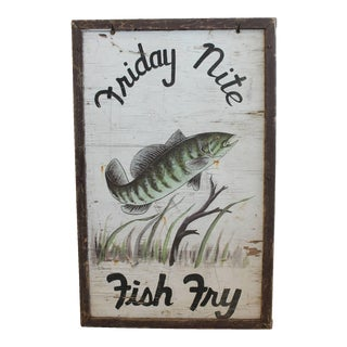 "1940s Folk Art Wood Sign ""Friday Nite Fish Fry"""