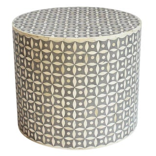 Round Bone Inlay Side Table