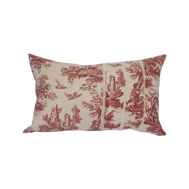 Deconstructed Red & Cream Toile Pillow - Image 1 of 5