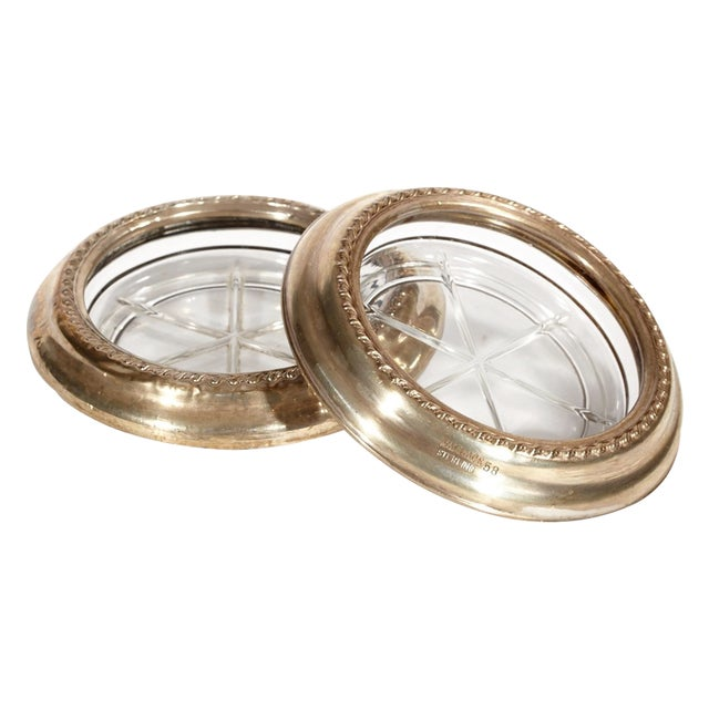 Image of 1950's Sterling Silver & Glass Coasters, Pair