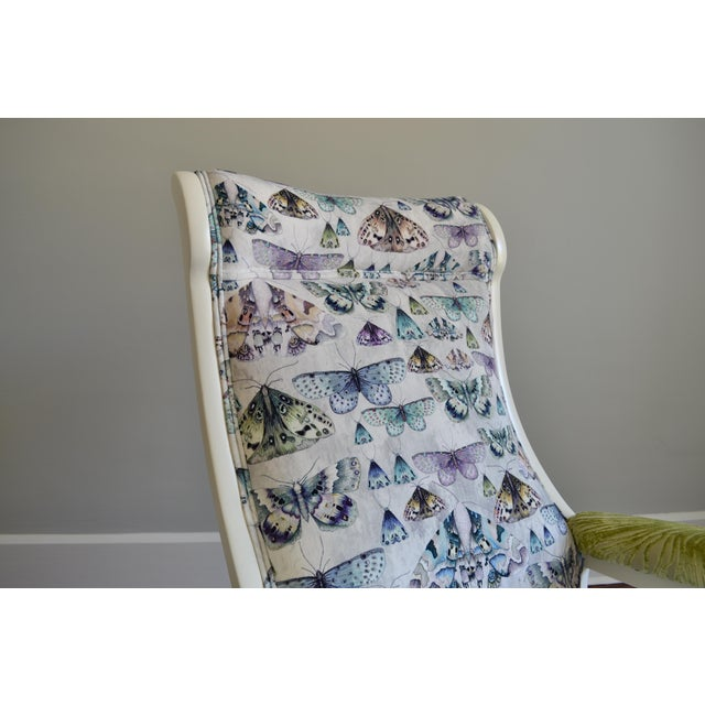 Upholstered Wood Rocking Chair in Antique White With Moth Print Velvet - Image 6 of 6