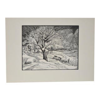 """1936 Vintage """"Opening the Road"""" Original Woodcut Print by Eloise Howard"""