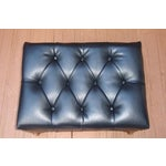 Image of Mid-Century Tufted Black Leather Chair & Ottoman
