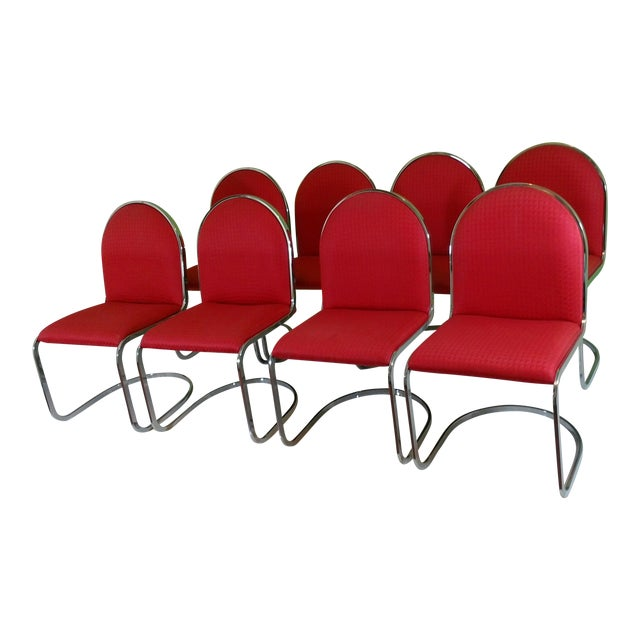 Chrome Red Upholstered Dining Chairs - Set of 8 - Image 1 of 11